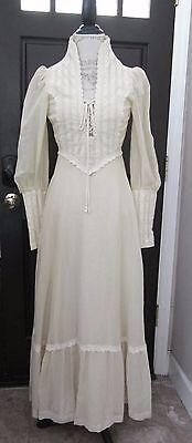 Vtg Gunne Sax Ivory Gauze Lace Up Victorian Maxi Dress 5