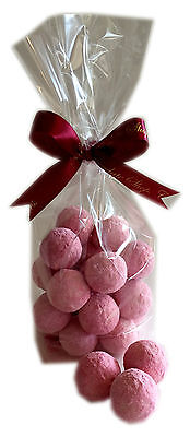 Pink dusted WHITE  Belgian Chocolate STRAWBERRY CHAMPAGNE Bonbons TRUFFLES (Chocolate Champagne Truffles)