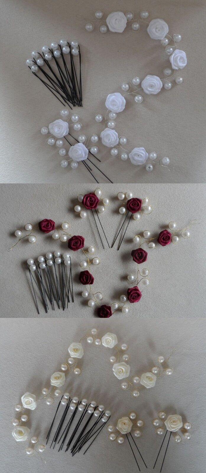Haarschmuck Braut Kopfschmuck  Haardraht Haarranke Hochzeit Rosen Perlen 15 Tlg.