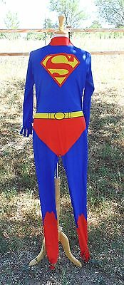 Superman Feet gloves Pj's Costume Suit Stretch adult Small- Medium Full body