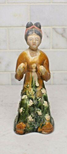 Chinese Sancai Glazed Terracotta Funerary Tomb Attendant Female Musician