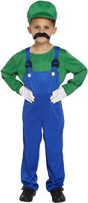 Kids Boys Super Mario and Luigi Costumes Plumber Bros Halloween Book Fancy - Mario And Luigi Kids Costumes