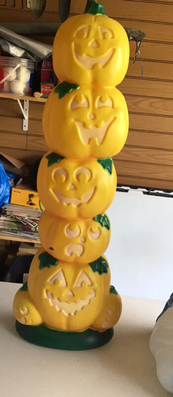 Sun Hill Halloween lighted pumpkin stack blow mold 38 inch holiday yard decor