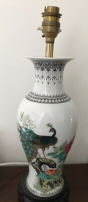 Vintage Hand Painted Oriental Ceramic Table Lamp Light 141/2""
