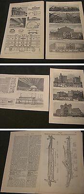Eisenbahn Bahnhöfe Holzstich mit Bericht-Graphik Original von 1899