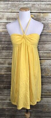 ANN TAYLOR LOFT Yellow Braided Halter Tie Small Sun Dress Summer Spring Halter Braided Summer Dress