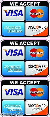 Credit Card Logo Sticker Decals X 3 We Accept Visa  Mastercard  Discover  Amex