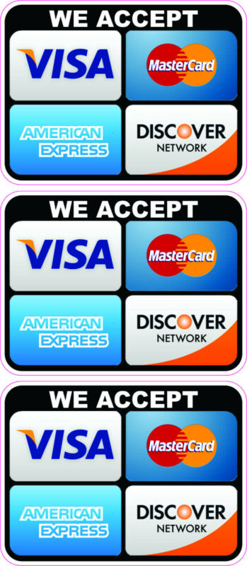 CREDIT CARD LOGO STICKER DECALS X 3 WE ACCEPT Visa, MasterCard, Discover, Amex