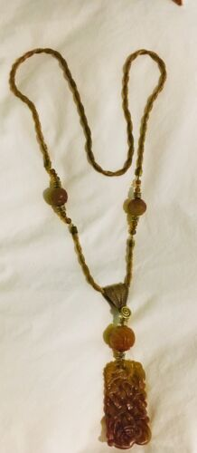 Vintage Chinese Hand Carved Soapstone Necklace Chinese Export 23 Long - $49.00