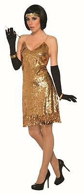 Gold Flapper Disco Dress Costume Standard