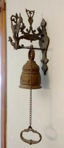 Antique Bronze Brass Monastery Door Bell w/ Angel, Original Chain Pull, Complete
