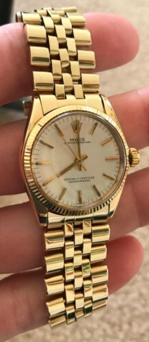 Rolex Vintage 14k Gold Oyster Perpetual 6551 30mm Silver Dial C. 1969