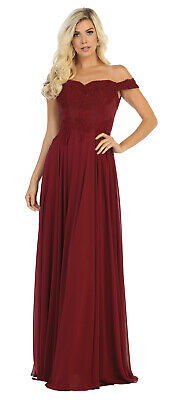 NEW FORMAL OFF SHOULDER BRIDESMAIDS GOWN EVENING PROM DRESSES & PLUS SIZE 2-26  (Off The Shoulder Prom Dresses Plus Size)