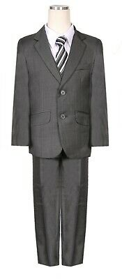 Boys Grey Suit (Winter Outfit Fancy boys Charcoal Dark Grey Chambray pattern formal suit)