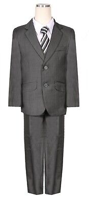 boys Charcoal Dark Grey Chambray pattern formal suit  special occasion wedding - Boys Grey Suit