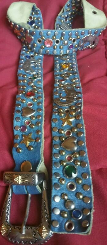 Vintage ROCKABILLY Jeweled Studded Leather Sand Castle 1950s Western Belt 36 1/2