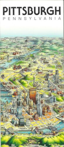 Map of Pittsburgh, Pennsylvania, by Unique Media, Folded Artistic Illustrated