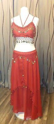 Damen Arabische Kostüm/Bauchtänzerin/Faschingskostüm + Schmuck  rot/gold  (Rote Kostüm Schmuck)