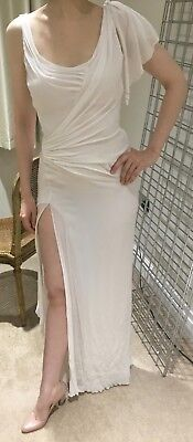 GIANNI VERSACE COUTURE VINTAGE WHITE SILK DRESS IT40 UK6 US 4 90s 1990's WEDDING