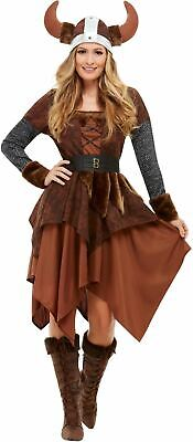 Viking Barbarian Queen Womens Costume Ladies Warrior Throne Fancy Dress Outfit