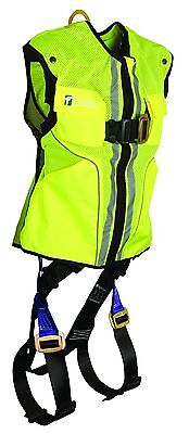 Falltech 7015lxl Lime Hi-vis Vest And Contractor Harness Lxl