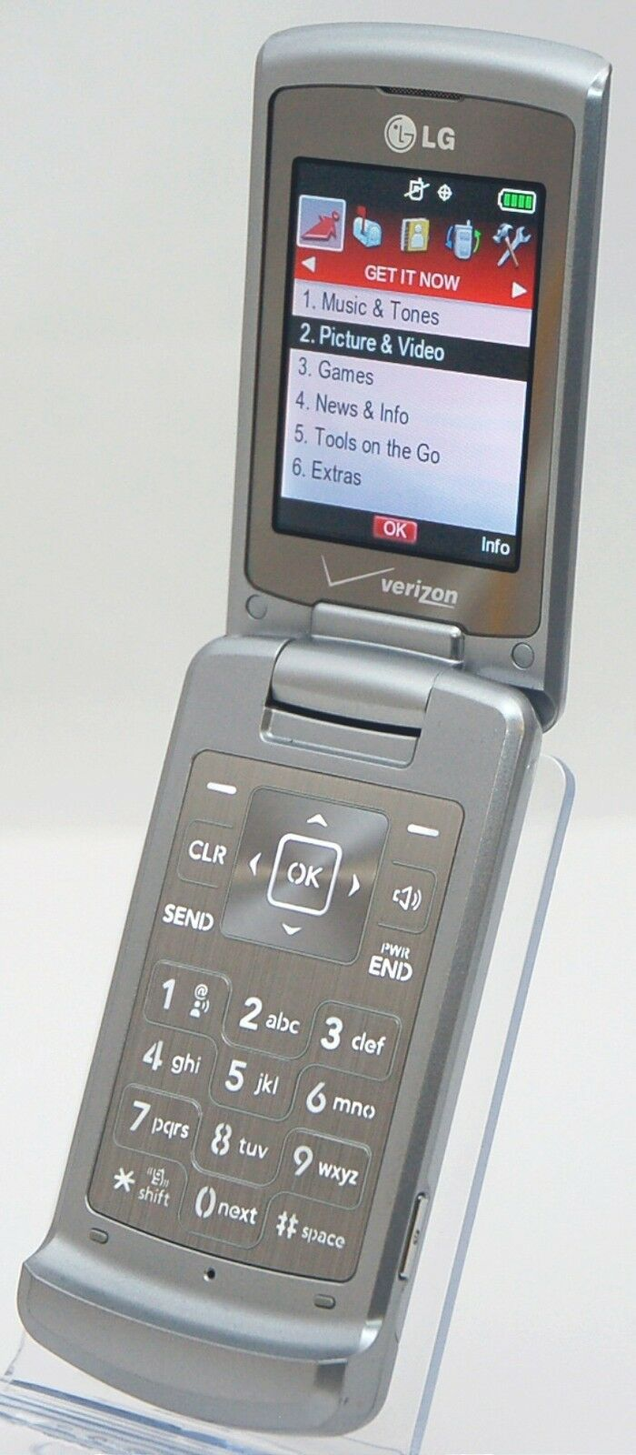Lg Vx8700 Shine Verizon Silver Flip Cell Phone Bluetooth