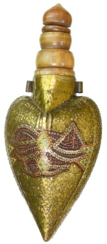 MUSEUM QUALITY LATE 18TH CENTURY GOLD MOUNTED OTTOMAN EMPIRE POWDER FLASK. #9551