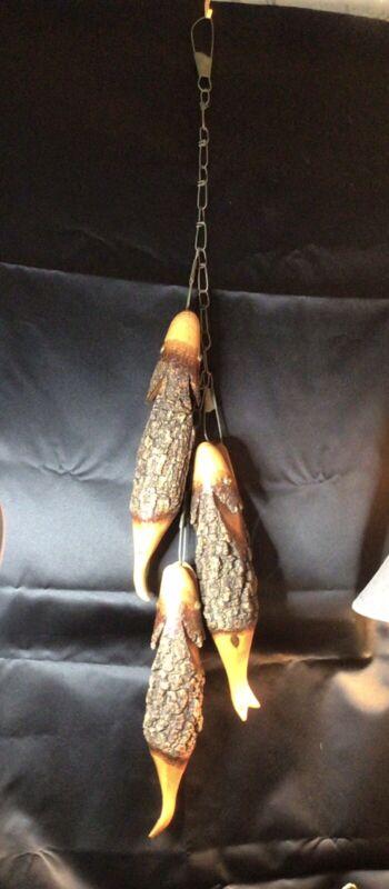 Vintage carved fish on stringer