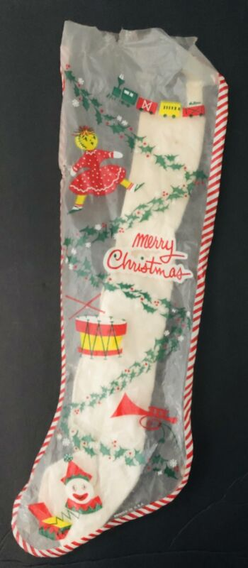 """VINTAGE 1950s 1960s 1970s  Clear Plastic CHRISTMAS STOCKING Sock Inside 19"""""""