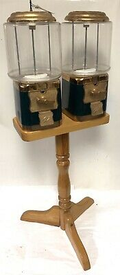 Vtg Vendworx Double Head 25 Gumball Candy Prize Vending Machine Pair W Stands
