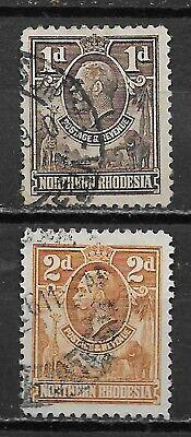 NORTHERN RHODESIA , 1925/29 , GEORGE V , SET OF 2 STAMPS ,  PERF , USED