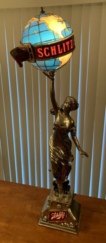 Vintage 1976 Schlitz Lady Beer Statue Holding Globe Working Tested RARE!!