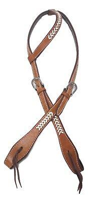 D.A. Brand Medium Oil Leather One Ear Headstall Rawhide Arrows Trim Horse Tack