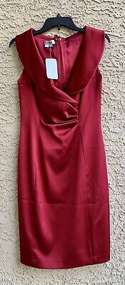 Kay Unger Red Silk Shiny Knee Length Cocktail Dress Size 6 Nwt Retail $320