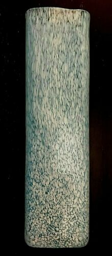 """Tall Hand Blown Aqua Blue Art Glass Vase with Applied Spatter 10 3/4"""" x 3"""""""