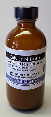 Silver Nitrate - 100 Grams - 99.95 Purity - Top Quality - Saltlakemetals.com