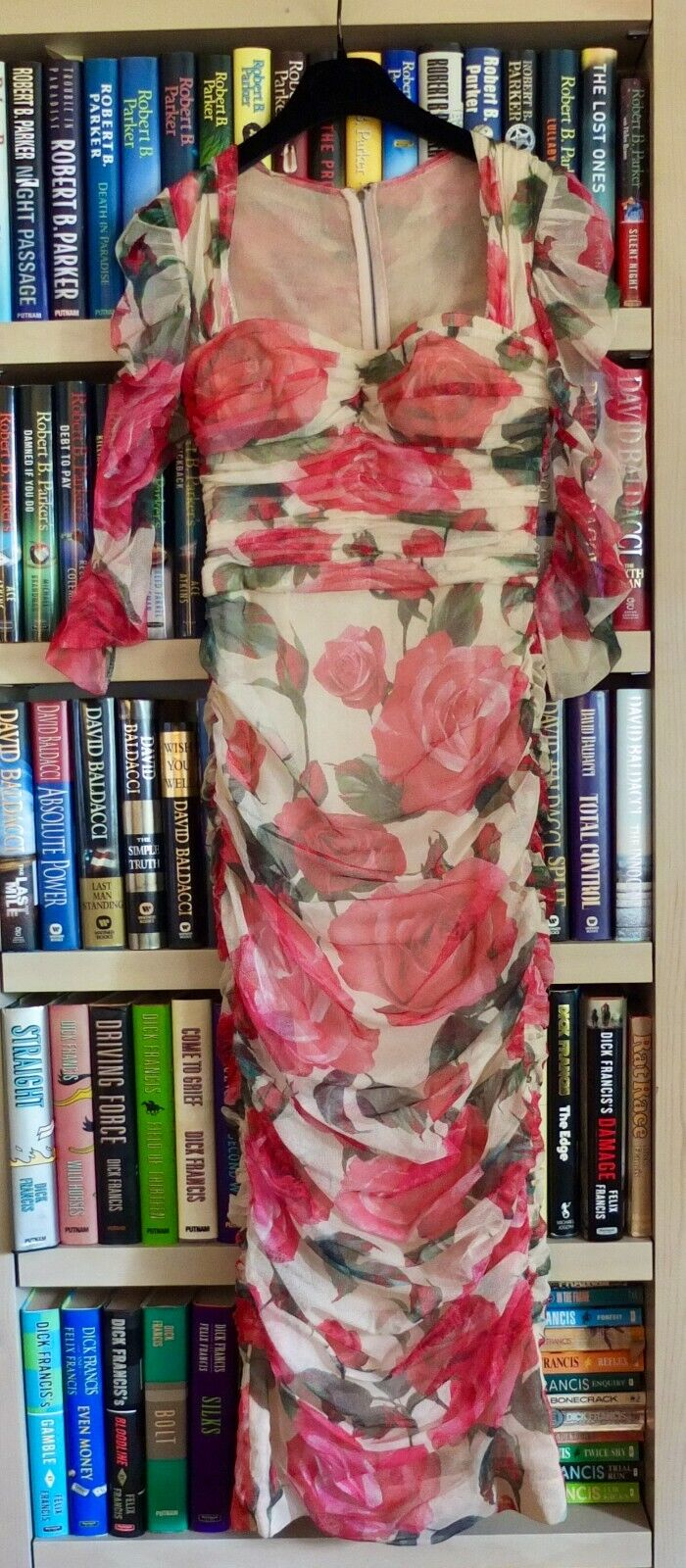 Dolce & Gabbana Rose Print Ruched Cotton Tulle Sweetheart Neckline Dress Size 40