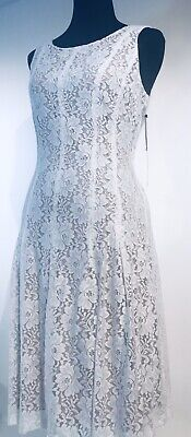 Ivanka Trump Women's Ivory Floral Lace Dress Size UK 8 New With Tag