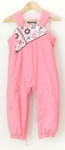 Columbia Girls Toddler Size 3T Snow Bibs Pants Pink Floral Fleece Lined Winter