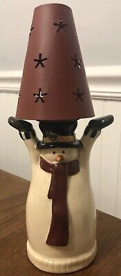 Vintage New Russ Berrie Snowman Lamp shade w/ tealight Candle holder Christmas