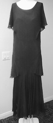 1930S Silk Chiffon Dress Layers of Silk Ruffles Cap Sleeves As Found Condition