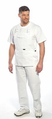 Portwest S810 Bolton White Cotton Painters Bib Overalls with Knee Pad Pockets