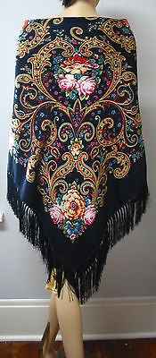 "Russian Shawl Floral w/Fringes Huge 154cm/61""  Dark  Blue 144-5  ""Pavlovo Style"""