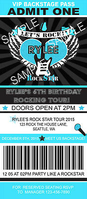 Rock Star Birthday Invitations (ROCK STAR TICKET Birthday Party Invitations Blue Custom Personalized +)
