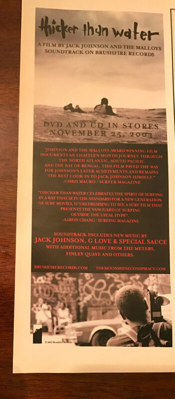 2003 VINTAGE 5X12 ALBUM/MOVIE PROMO PRINT Ad FOR THICKER THAN WATER JACK JOHNSON