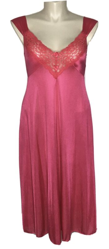 Vintage Quiet Moments Large Pink Silky Nylon Stretch Floral Lace Nightgown USA