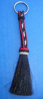 Western Equestrian Jewelry Woven Black/Red Horsehair Key Ring With Tassel