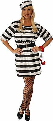 Ladies Adult CONVICT COSTUME Prisoner Criminal Outlaw Halloween Jail Bad Girl](Girl Jail Halloween Costume)