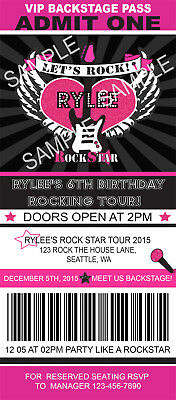 Rock Star Birthday Invitations (ROCK STAR TICKET Birthday Party Invitations Custom Personalized +)