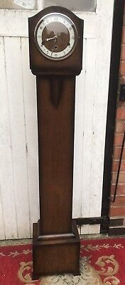 Oak Cased Granddaughter/Grandmother Longcase Clock, Art Deco Detail, Westminster